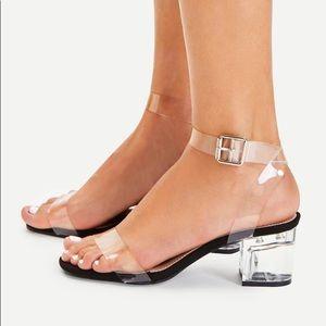 Kim Clear Strap Block Heels